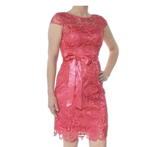 2/$50 Adrianna Papell pink lace cap sleeve dress